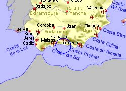 Map of the Torrox Costa area, fully zoomed out