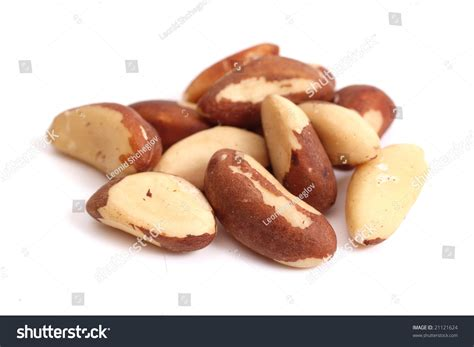 Brazil Nuts (Bertholletia Excelsa) Isolated On White Stock