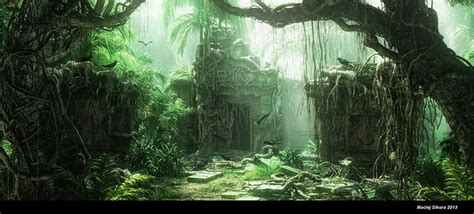 jungle ruins overgrowth rendered environment | Fantasy