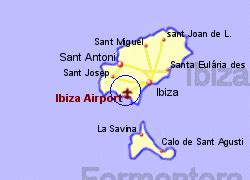 Map of the Ibiza airport area, fully zoomed in