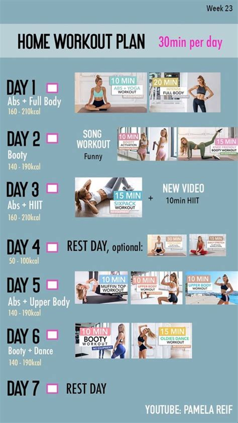 Workout plan by Pamela Reif in 2020 | At home workout plan