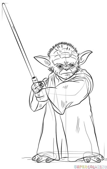 How to draw Yoda with lightsaber | Step by step Drawing