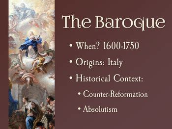 Baroque Art and Architecture PowerPoint by History