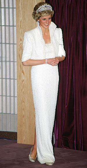 Princess Diana owned and wore this pearl studded dress