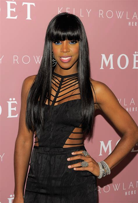 Kelly Rowland Long Straight Cut with Bangs - Long Straight