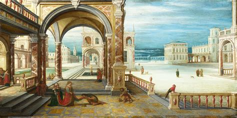 The Courtyard Of A Renaissance Palace Painting by Hendrick