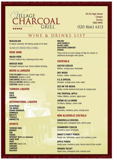 #5 of 6 Price Lists & Menus – Village Charcoal Grill