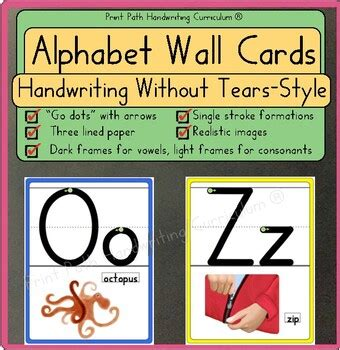 Alphabet Posters: ABC Wall Cards, HWT-Style Font on 3